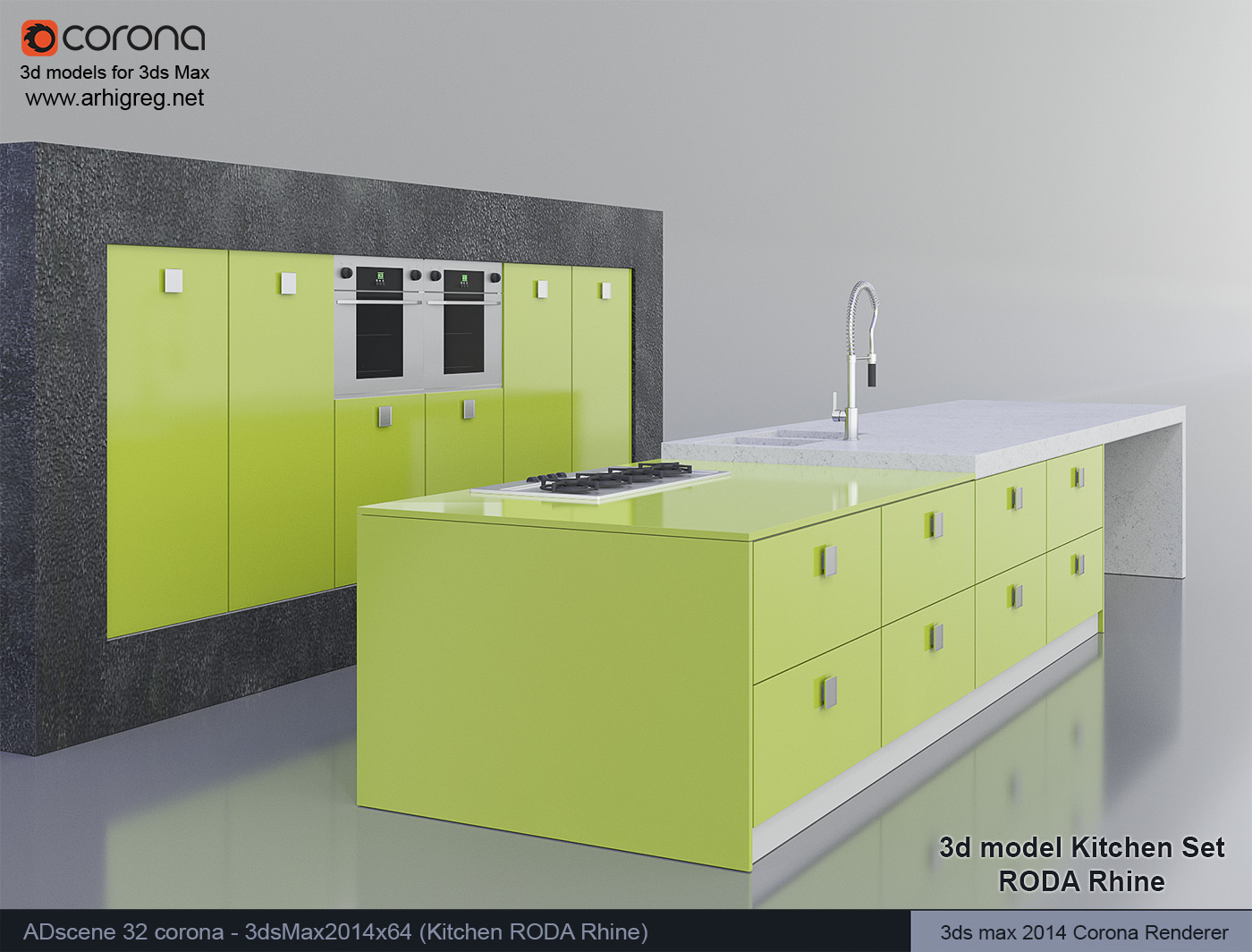 3d model kitchen set roda rhine for Model kitchen