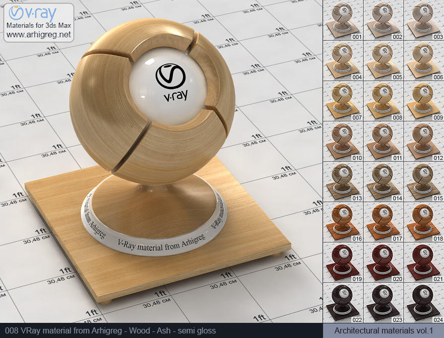 Vray material free download. Wood. Ash semi gloss (008)