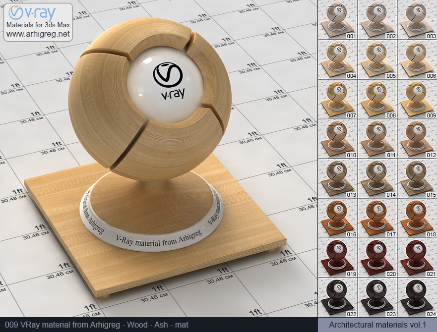 Vray material free download. Wood. Ash mat (009)