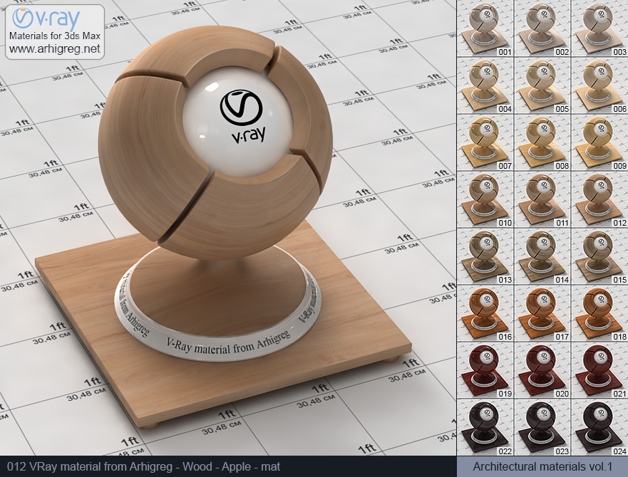 Vray material free download. Wood. Apple mat (012)