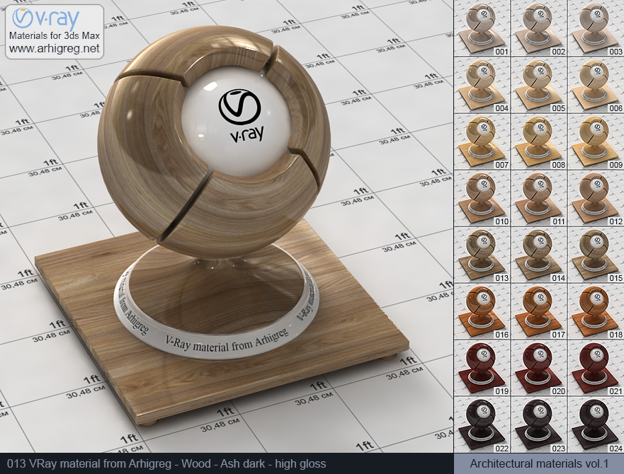 Vray material free download. Wood. Ash dark high gloss (013)