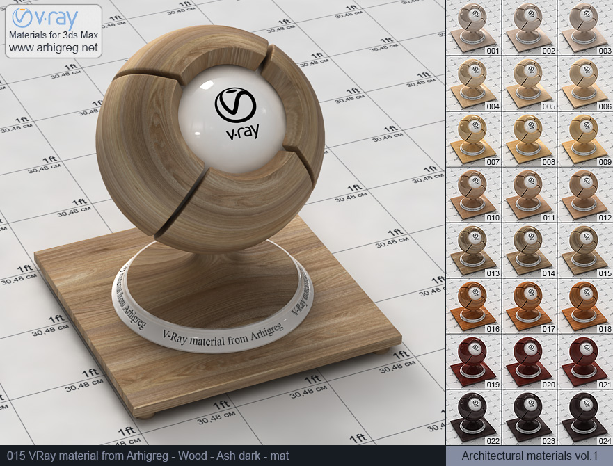 Vray material free download. Wood. Ash dark mat (015)
