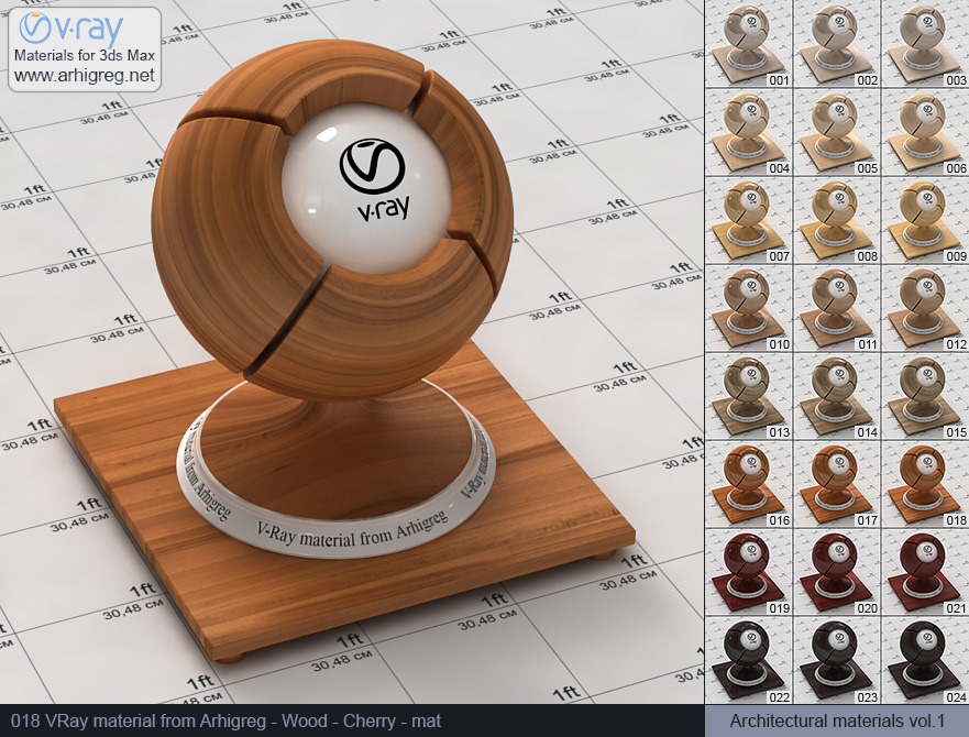 Vray material free download. Wood. Cherry mat (018)