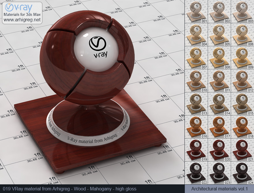 Vray material free download. Wood. Mahogany high gloss (019)