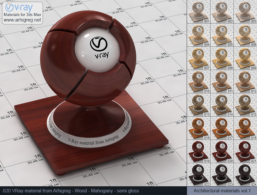 Vray material free download. Wood. Mahogany semi gloss (020)