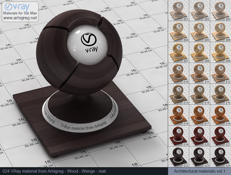 Vray material free download. Wood. Wenge mat (024)