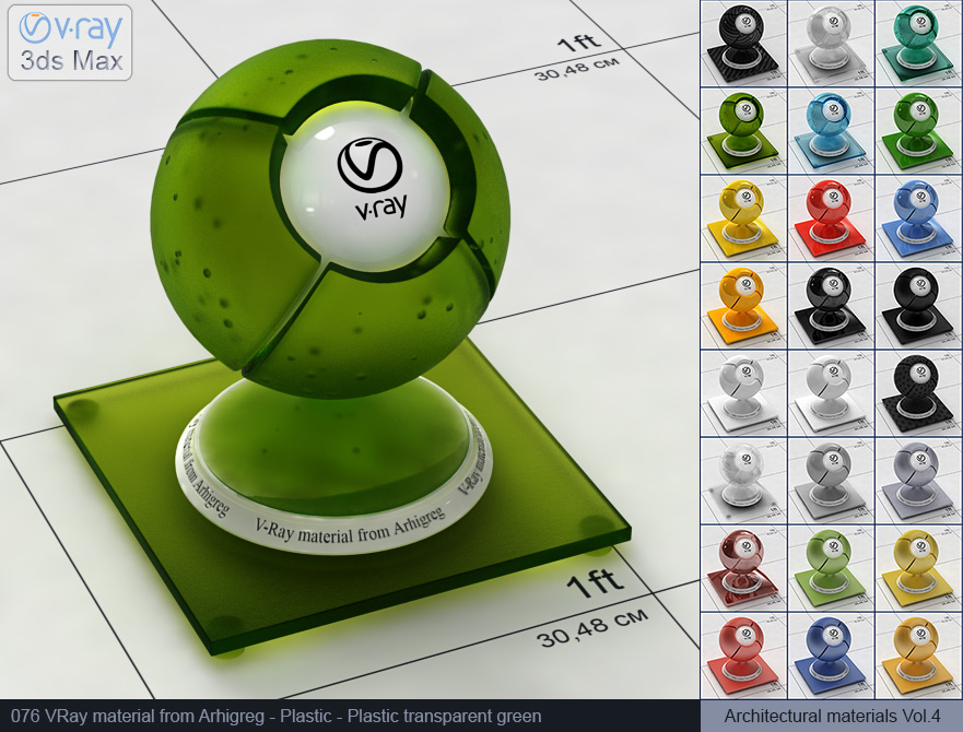 Vray plastic material free download - Transparent green plastic (076)