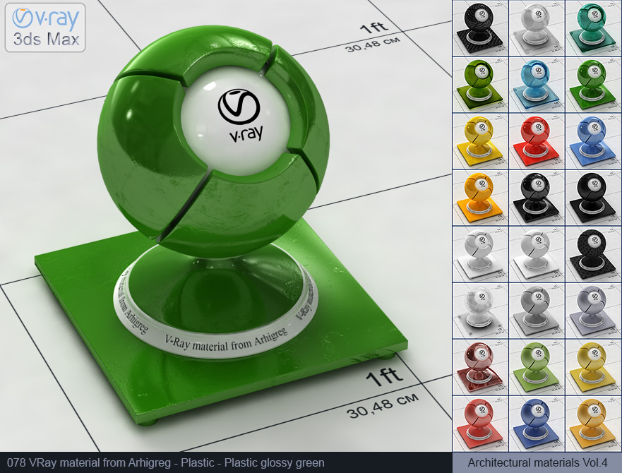 Vray plastic material free download - Glossy green plastic (078)