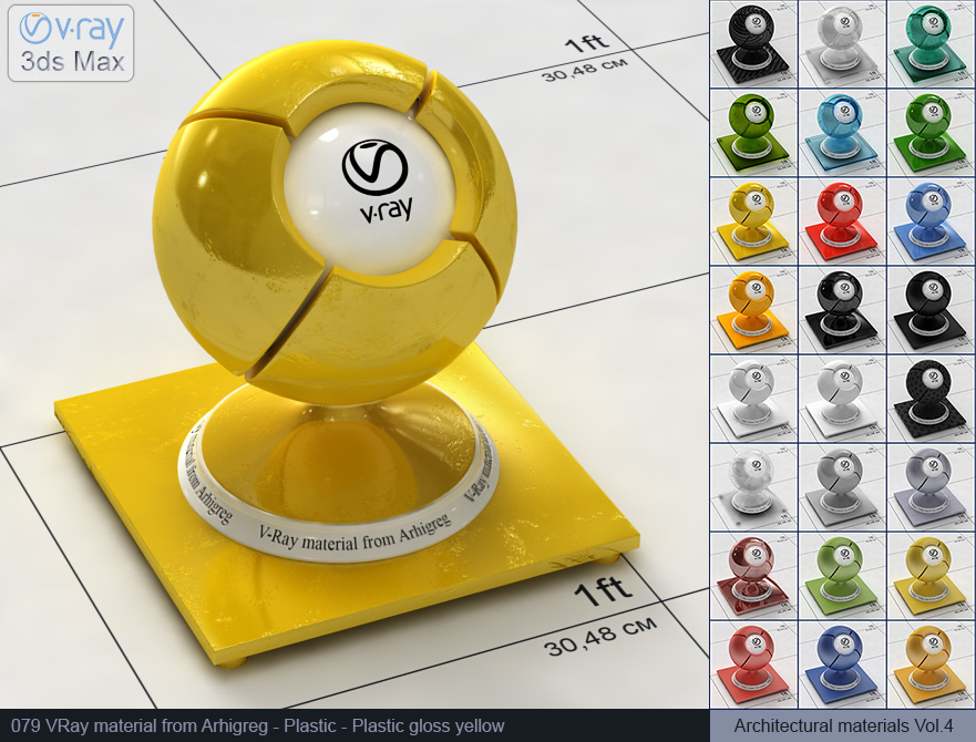 Vray plastic material free download - Glossy yellow plastic (079)
