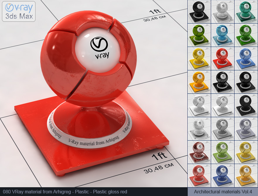 Vray plastic material free download - Glossy red plastic (080)
