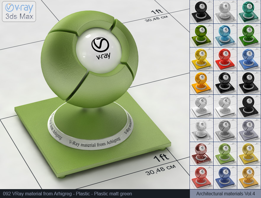 Vray plastic material free download - Matte green plastic (092)