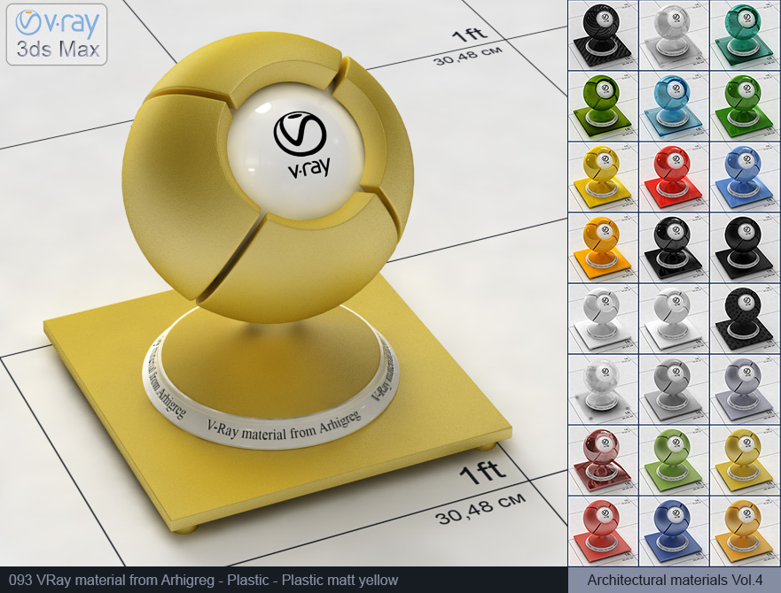 Vray plastic material free download - Matte yellow plastic (093)