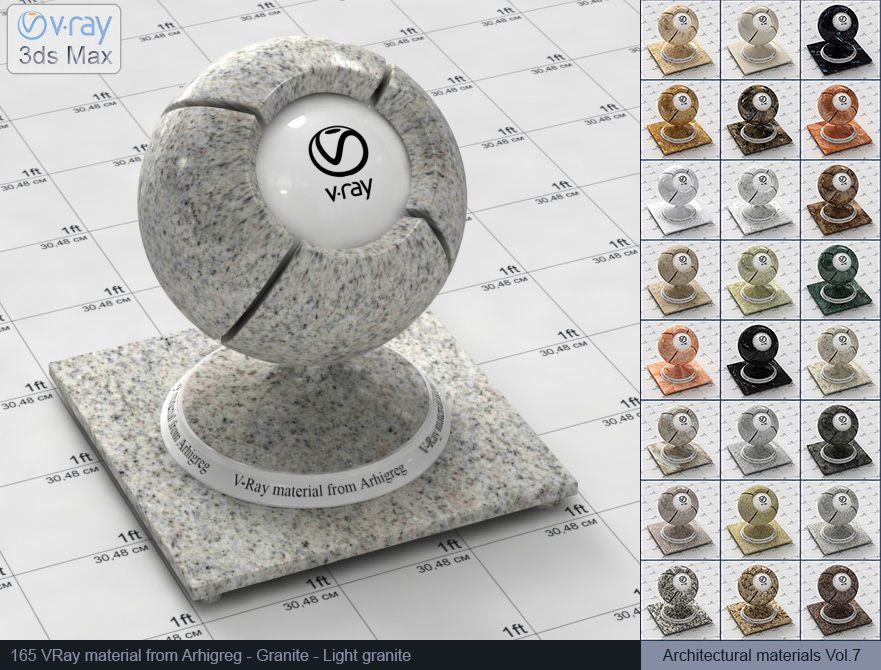 Vray materials Marble and Vray materials Granite