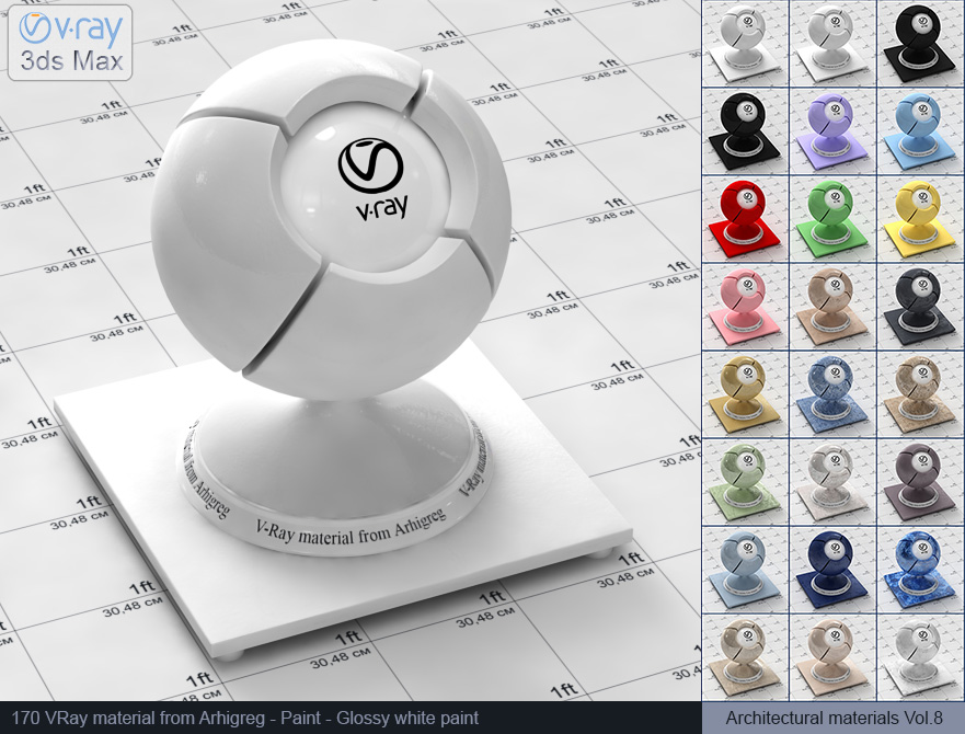 Vray material free download - Glossy white paint (170)