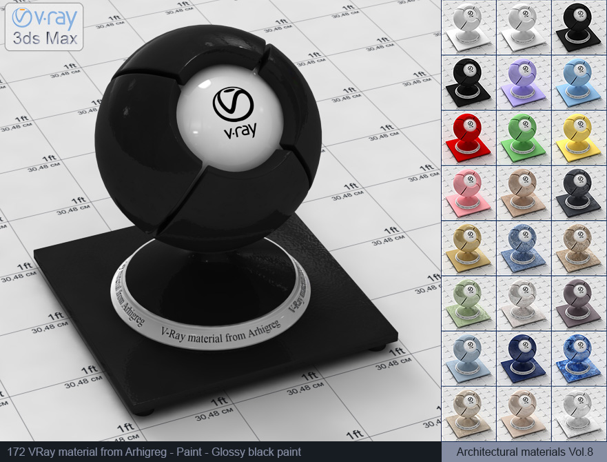 Vray material free download - Glossy black paint (172)