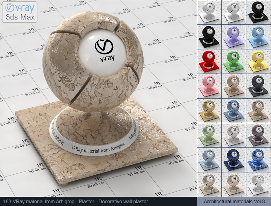 Vray material free download - Decorative wall plaster (183)