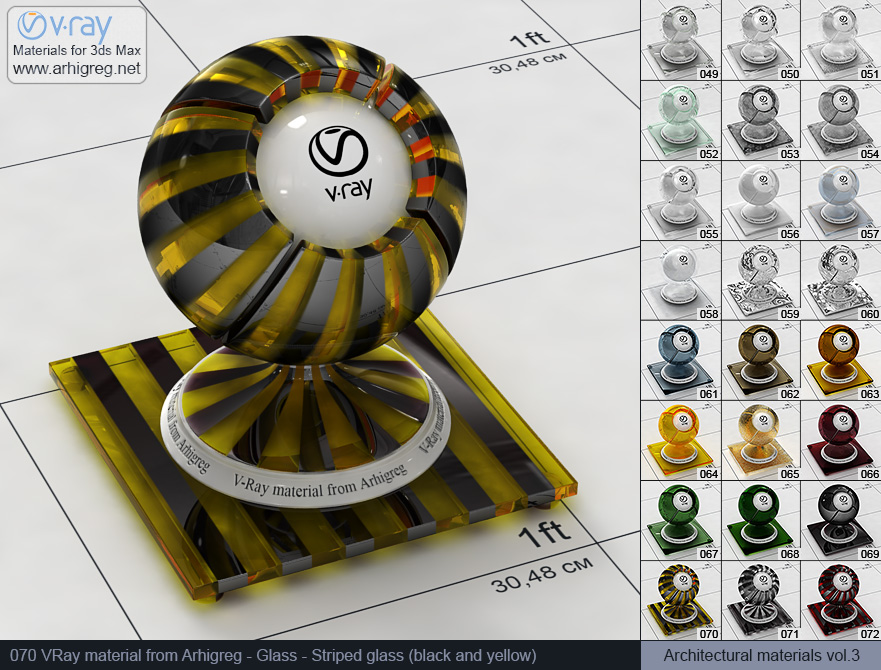 Vray material free download. Glass. Striped glass (black and yellow) (070)