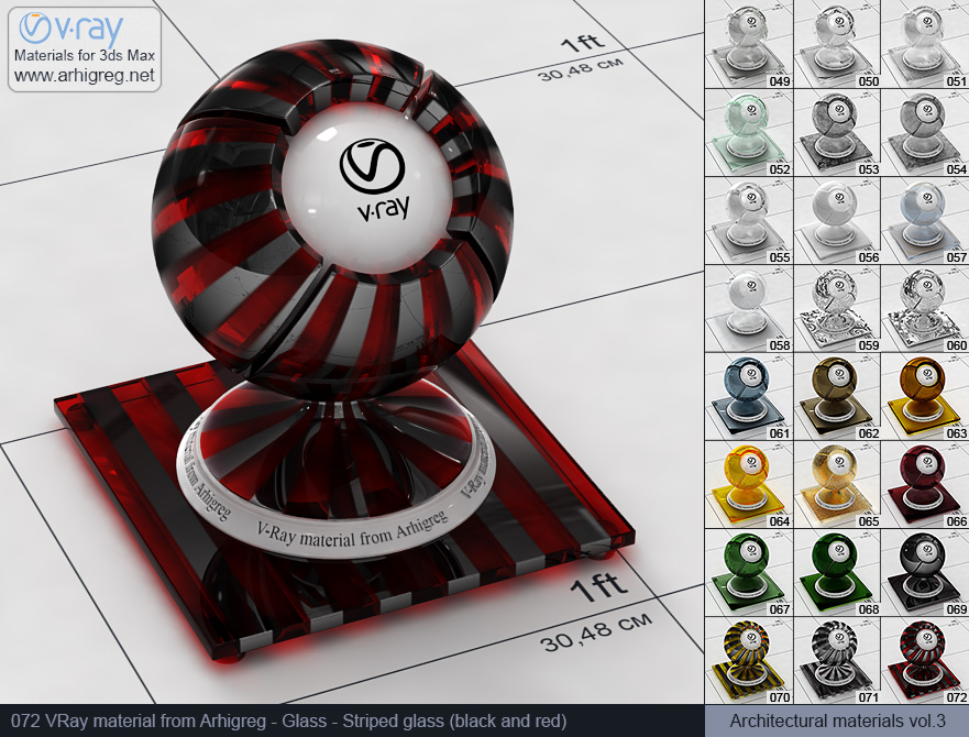 Vray material free download. Glass. Striped glass (black and red) (072)